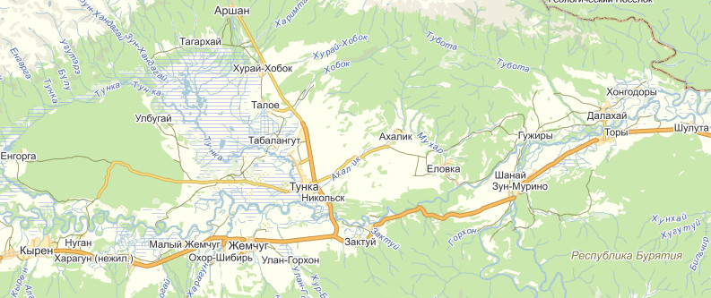 Участок маршрута автобусов Улан-Удэ - Кырен - Аршан нас.пункты
