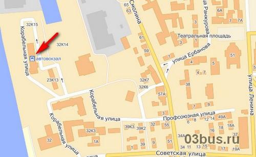 Где находиться автовокзал на карте