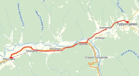 Маршрут автобуса Турунтаево - Мостовка